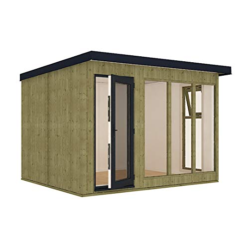 10ft x 8ft Insulated 13mm Pressure Treated My Den Garden Office Garden Shed with Double Glazed UPVC Window - Single Door