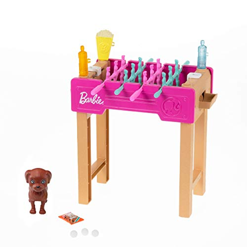 Barbie Mini Playset with Pet, Accessories and Working Foosball Table, Game Night Theme, Gift for 3 to 7 Year Olds