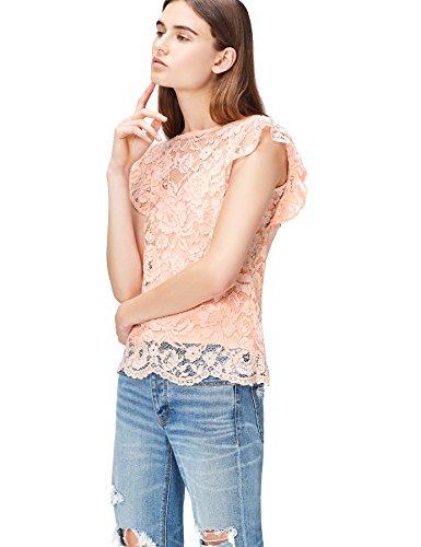 find. Bluse Damen mit Spitze und kontrastfarbenem Unterteil, Rosa (Blush), 36 (Herstellergröße: Small)