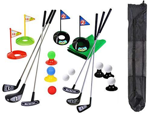 Tragbare Kinder Golf Club Set Spielzeug Flagge Matte Golf Übungsbälle 29 Stücke Sport Indoor Outdoor Golf Spiel für Kinder mit Rucksack