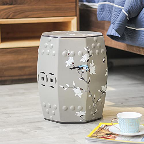 WLH New Chinese Ceramic Snare Drum Stool American Living Room Porcelain Drum Stool Dressing Stool Simple And Creative Shoe Replacement Stool Embroidered Pier(35X32CM)(Color:B)