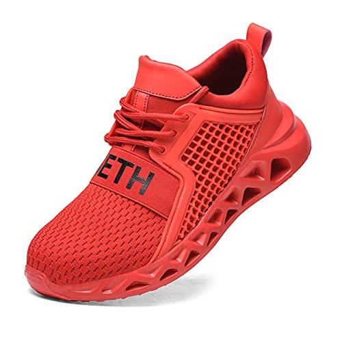 Aingrirn Zapatos de Seguridad Hombre Mujer, Punta de Acero Zapatos Ultra Liviano Calzado de Trabajo Transpirables y Cómodos (Color : Red, Size : 47 EU)