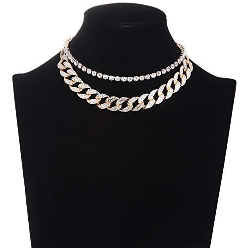 DFG Collar, Cadena de eslabones cubanos, Gargantilla de Diamantes de imitación Helada, Conjunto de Collar en Capas para Mujer, Accesorios de Gargantilla Brillante