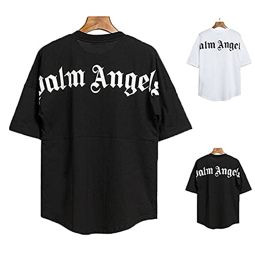 Palm Angel T-Shirts Herren und Damen Übergröße lässige Kurzarm-Rundärmel Oberteile Kurze Ärmel Hemden mit kreativen Buchstaben T-Shirt-Oberteile Oversized Mode Lose Rundhals Buchstaben Longshirt