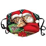 LAIQIAN Weihnachten Mundschutz Nasenschutz Rentier Elch Motiv Baumwolle Atmungsaktiv Gesichtsschutz Mundbedeckung Tiermotiv Bandana Schals
