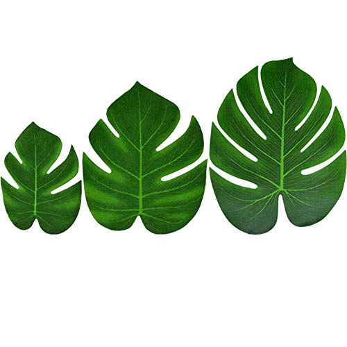 BETOY 36 pcs Hoja de Palma Tropical, Hoja Verde Artificial Monstera para...