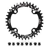 EASTERN POWER Plato 38 Dientes BCD 104, Plato BCD 104 Bicicleta Montaña, Aluminio Monoplato 38 Dientes MTB, Negro