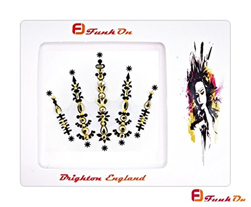 Face Gems/Gold Rhinestone Sticker/Face Crystal Jewels For Festivals/All In One Stick on Bindi/Temporary Glitter Tattoo Headpiece/Self Adhesive Rhinest