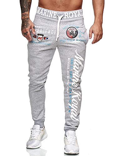 L.gonline Herren Jogginghose The Power Design 506 (XL-Slim, Grau/Weiß)
