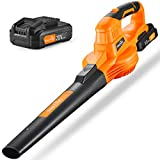 Leaf Blower - 20V Cordless Leaf Blower with Battery & Charger, Electric Leaf Blower for Yard Cleaning, Lightweight Leaf Blower Battery Powered for Snow Blowing (Battery & Charger Included)