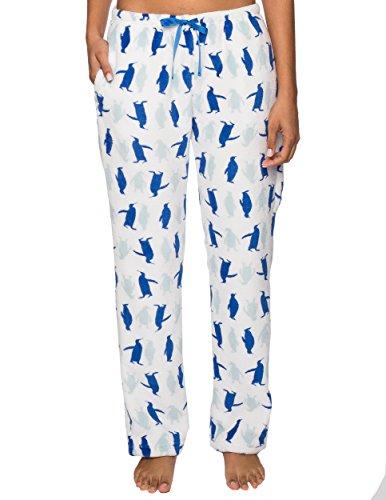 Fleece Pajama Pants for Women - Plush Lounge Pants - Penguin Mania - White/Blue - S