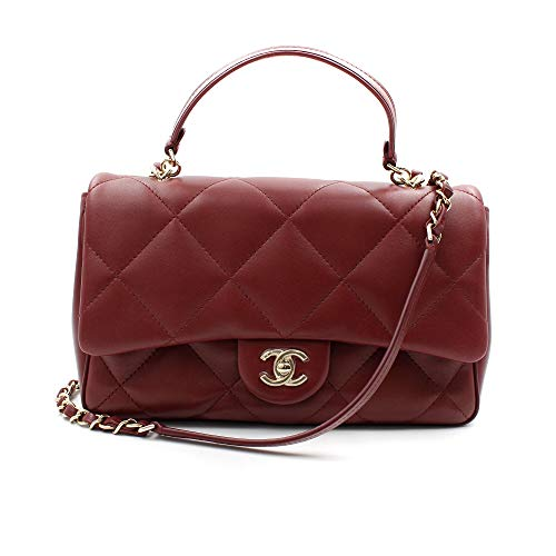 CHANEL Burgundy Quilted Lambskin Gold Tone Metal Medium Flap Bag AS1115