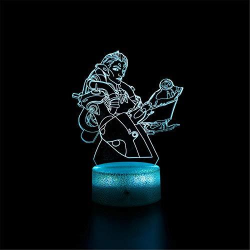 3D lámpara noche luz overwatch C regalo lámpara de mesa lateral 3D noche luz para niños, mejor regalo juguetes para niños niñas