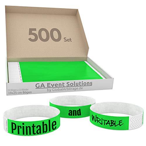 500 Eintrittsbänder aus Tyvek zum selbst gestalten und bedrucken in Grün von GA Event Solutions - Party Einlassbänder, Festival Armbänder für dein Event