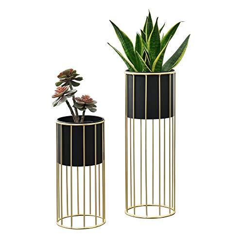 [en.casa] Pflanzständer im 2er Set Blumenständer aus Metall Blumentopf Ständer mit Übertopf Blumentopfhalter 2-TLG. Pflanztopf Deko Goldfarben-Schwarz