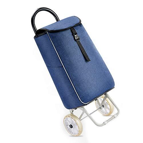 XIAOQIAO Leichte Shopping Trolley Falzen, mit wasserdichter Funktion, Removable große Kapazitäts-Beutel, Strapazierfähige, abnehmbare Tasche (Color : Blue)