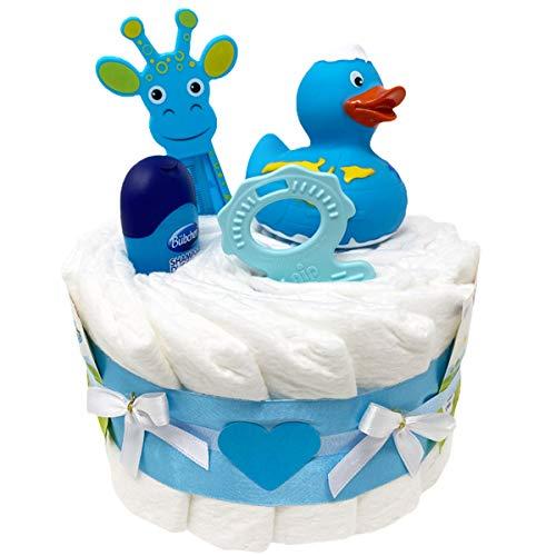 Kleine Windeltorte Badeentchen Hugo Blau 23tlg. Geschenk zur Taufe oder Geburt Geschenkfertig in Celophan verpackt.