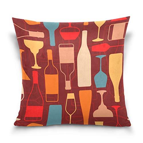HMZXZ Funda de almohada de 45,7 x 45,7 cm, coloridas botellas de vino, fundas de almohada decorativas para sofá, dormitorio, hogar, sala de estar