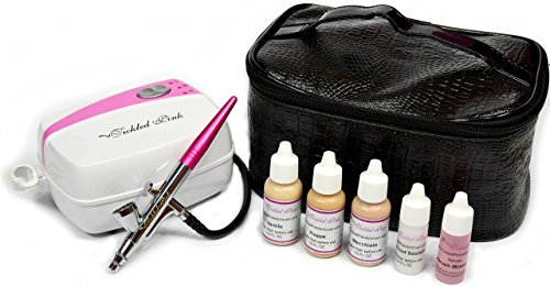 Tickled Pink Cosmetic Airbrush Makeup Kit with 89% Organic Water Based Makeup Infused with Organic Aloe Juice(Medium)