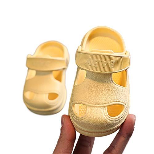 WangsCanis Infantile Neonata Sandali Infantile Prewalker Primo Bambino Scarpe Con Foro Con Fondo Morbido Antiscivolo Pantofole da Passeggio Scarpe da Ginnastica Casual (giallo, 3-4 anni)