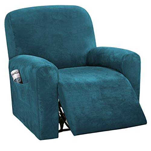 H.VERSAILTEX 4-Pieces Recliner Chair Covers Velvet Stretch Reclining Couch Covers for 1 Cushion Sofa Slipcovers Furniture Covers Form Fit Customized Style Thick Soft Washable(Small, Deep Teal)