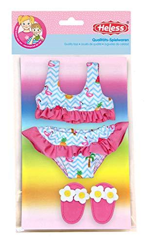Heless 199 - Schwimmset für Puppen, 3 teilig, Bikini mit Badeschläppchen, Flamingo, Größe 28 - 35 cm, für Badespaß an heißen Sommertagen