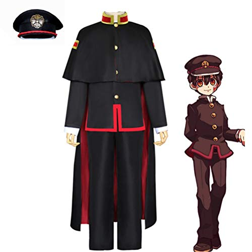 QYF WC-gebundene Hanako-kun Yugi Amane Cosplay Uniform Set, Top + Pants + Hat + Socken + Mantel + Hemd + Tattoo-Aufkleber (Größe : S)