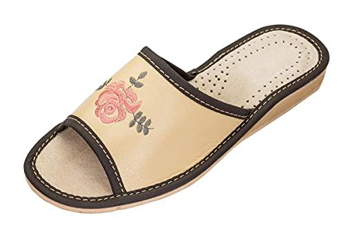 Apreggio - Zapatillas de Cuero para Mujeres - Suela de Goma Maciza - Cómodas de Llevar - Suaves - Producto 100% Natural - Hechas a Mano (Hueso, 36)
