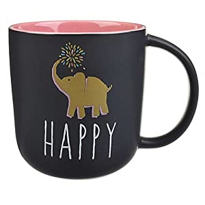 "Formations ""Happy"" Elephant Statement Chalkboard Mug"