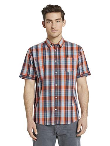 TOM TAILOR Herren Blusen, Shirts & Hemden Kariertes Kurzarmhemd mit Brusttasche orange Base Navy Check,XL,23284,4556