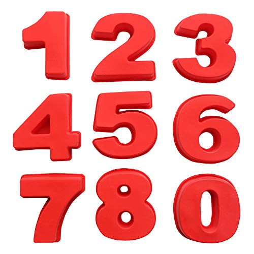 BAKER DEPOT Moldes de silicona para hornear pasteles de 0 a 8 números, tamaño pequeño, 3 3/4 pulgadas, moldes para hornear para cumpleaños, bodas y aniversarios
