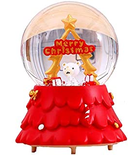 Noetoy Christmas Snow Globes - 80 MM Automatic Snow Drift with LED Light Musical Snow Globe for Home Decoration Girls Kids Gift (Red)