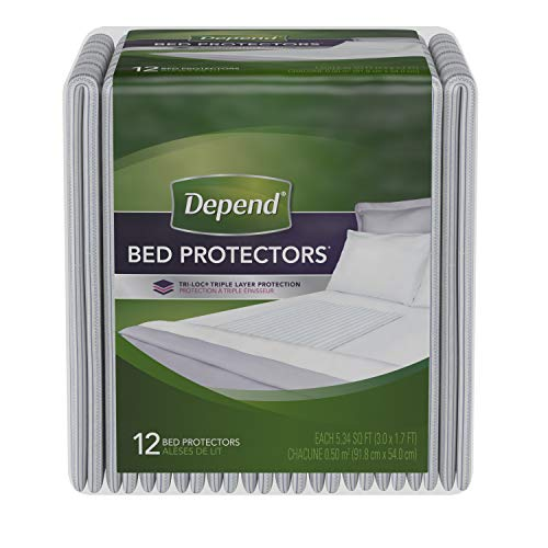 Depend Incontinence Bed Protectors, Disposable Underpad, Overnight Absorbency, 12 Count (Pack of 6)