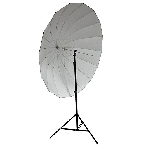 Neewer 72'/185cm Silver with Black Cover Reflective Parabolic Umbrella 16 Fiberglass Rib 7mm Shaft, includes Portable Carrying Bag