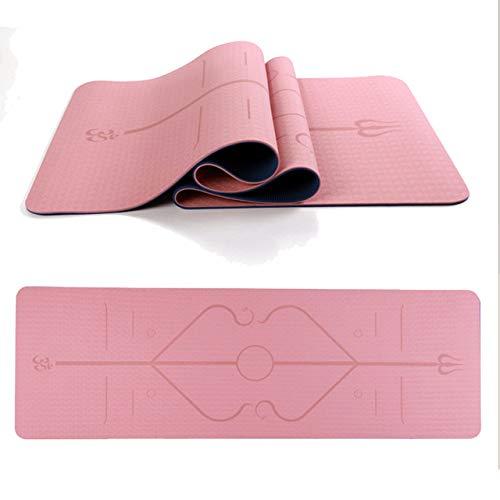 LITIAN Due Colori Postura Linea TPE Yoga Mat, la Protezione Ambientale, insapore Antiscivolo Sport Body Fitness Mat con Cinturino (Pelle Polvere + Blu Scuro / 183 * 61 * 0,6 Centimetri)