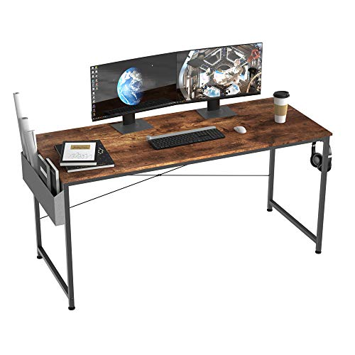 HOMIDEC Writing Computer Desk, Office Work Desk for student and worker, Laptop Table with Storage Bag and Headphone Hook,Modern Simple Style Desks for Bedroom, Home, Office(140x60x75cm)