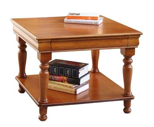 Arteferretto Table Basse carrée de Salon 64x64 Style Louis Philippe, séjour Classique, Table d'appoint, Couleur merisier, Design Essentiel, avec étagère inférieure