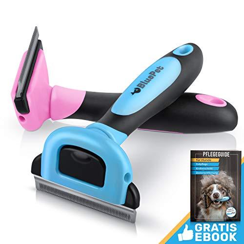 Bluepet UnterwollGlück deShedding Katzenbürste & Hundebürste | Entfernung der Unterwolle | 60mm (Blau)