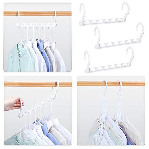 HOUSE DAY 12 Stück Kleiderbügel Kunststoff Schrank Organizer Kleiderschrank Platzsparend Mehrfach rutschfest Antirutsch Stabil Weiß Clothes Hanger für Garderobe 27cm (L)