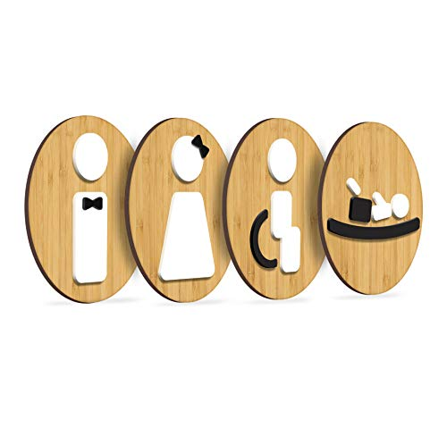 3DP Signs | 4X Set Bambusrunde | Geprägte Restroom Toilette WC Damen Herren Behinderten Rollstuhl Wickelraum Toilettenschilder, Schild Mann Frau Wickeltisch Türschild