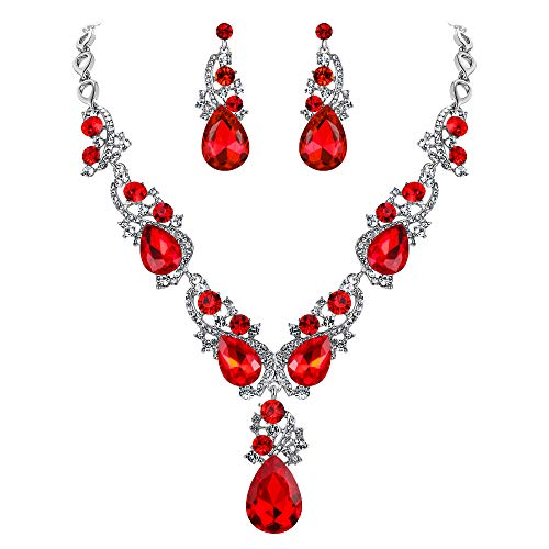 BriLove Wedding Bridal Necklace Earrings Jewelry Set for Women Multi Teardrop Cluster Crystal Statement Necklace Dangle Earrings Set Ruby Color Silver-Tone