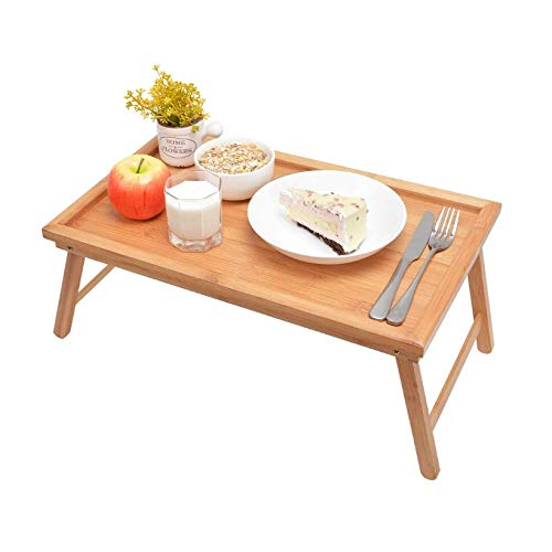 Mesas de acampada Mesa lateral plegable portátil, mesa de bandeja de cama Bandeja de comida de desayuno con manijas Piernas plegables TELEVISOR Platters portátiles Sirviendo la madera de la bandeja