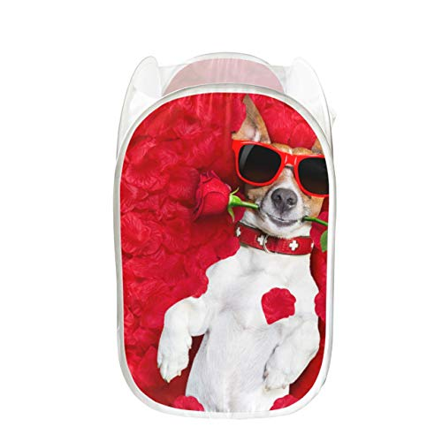 GIRLOS Laundry Basket for Teen Girls Dog Lying in Bed Full of Red Flower Cute Collapsible Laundry Basket Collapsible for Storage and Easy to Open Pop-up Mesh Bag Laundry Hamper Great for Room