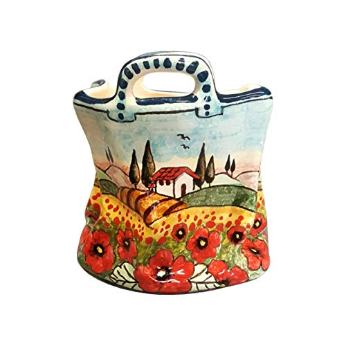 CERAMICHE D'ARTE PARRINI - Italian Ceramic Art Pottery Small Bag Pencil Holder Hand Painted Decorated Poppies Landscape Made in ITALY Tuscan