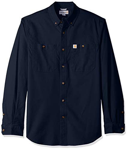 Carhartt Herren Rugged Flex Rigby Long Sleeve Shirt Work Utility Hemd, Navy, Groß