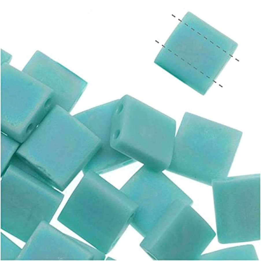 Turquoise Green Ab Matte Tila Beads 7.2 Gram Tube By Miyuki Are a 2 Hole Flat Square Seed Bead 5x5mm 1.9mm Thick with .8mm Holes