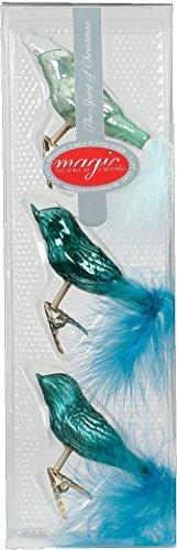 3 STK. Vögel Glas 8cm Christbaumschmuck Weihnachtsschmuck Baumschmuck Set Deko - Green Emerald (Mint dunkel türkis meerblau)