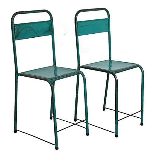 Freudenhaus Vintage Stuhl Easy Stapelbar Meeresgrün Shabby Chic Metallstuhl Outdoor Gartenstuhl