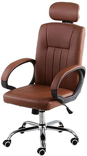 WYL Chefsessel Höhenverstellbarer Leder Schreibtisch Gaming Stuhl for Büro Tagungsraum Bseack Ergonomischer Büro-Schreibtisch-Stuhl mit Swing-Funktion mit hohem Rücken (Color : Brown)