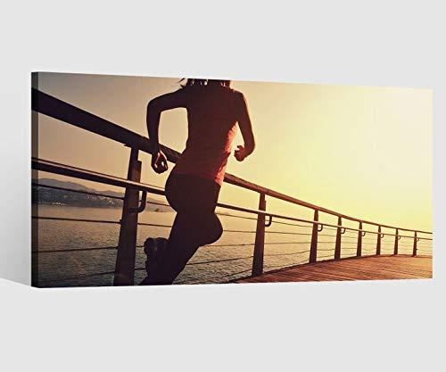 Leinwandbilder Sport Frau laufen joggen Frau Fitness Leinwand Bild Leinwandbild Wandbild Holz 9BD460, Leinwand Größe 1:80x40cm